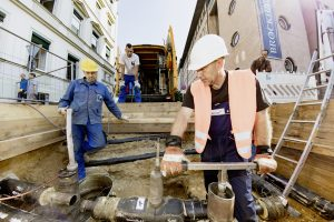 Baustelle der Netz Leipzig zum Ausbau der Fernwärme