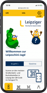 Screenshot der Leipzschini App