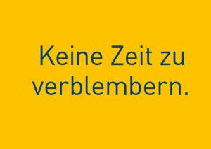 """Leipziger Crowdfunding Plattform: Postkarte mit Spruch: """"Keine Zeit zu verblembern"""""""