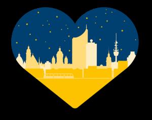 Crowdfunding in Leipzig: Herzmotiv der Kampagne mit Stadtsilhouette