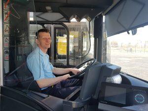 Wir halten Leipzig mobil: Ein LVB-Fahrer in einem Bus