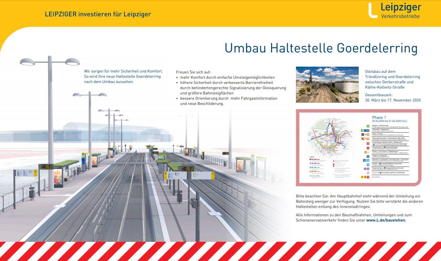 Leipziger Verkehrsbetriebe investieren: Visualisierung von der Haltestelle Goerdelerring