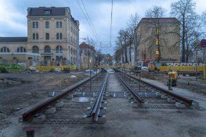 Baustelle Bornaische Straße: erste Gleise liegen bereits