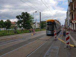 Straßenbahn in der Rosa Luxemburg Strasse