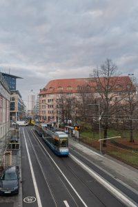 LVB Baumaßnahmen: Blick in die Rosa-Luxemburg-Straße