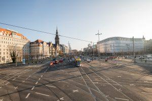 LVB Baumaßnahmen: Blick auf die Kreuzung am Goerdelerring